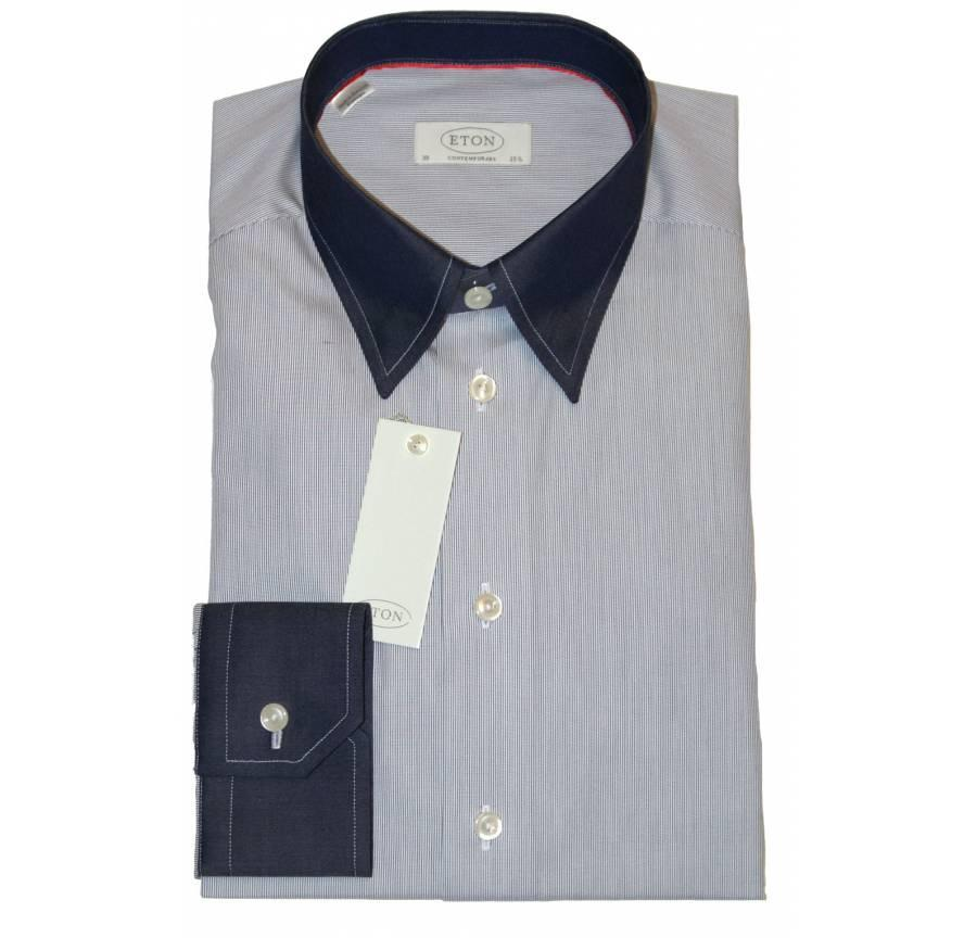 Eton Shirt Blue Hairline Stripe - Leonard Silver