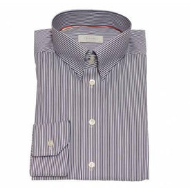 Eton Shirt Contemporary Fit Navy Bengal Stripe - Leonard Silver