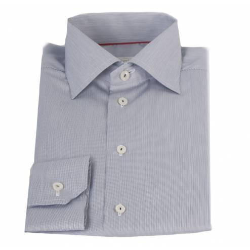 Eton Shirt, Contemporary, Grey Hairline Stripe - Leonard Silver