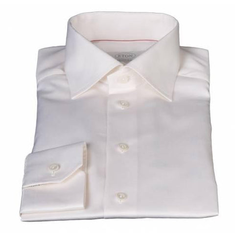 Eton Shirt, Cream, Single Cuff - Leonard Silver