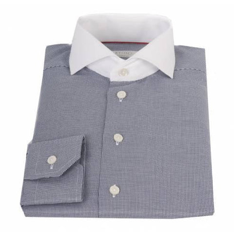 Eton Shirt, Contemporary Fit, Navy Dogtooth Check