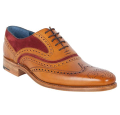 Mens Barker Shoes, McClean Brogue, Cedar Calf, Burgundy Suede