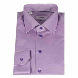 Eton Shirt, Contemporary Fit, Lilac Self Pattern - Leonard Silver
