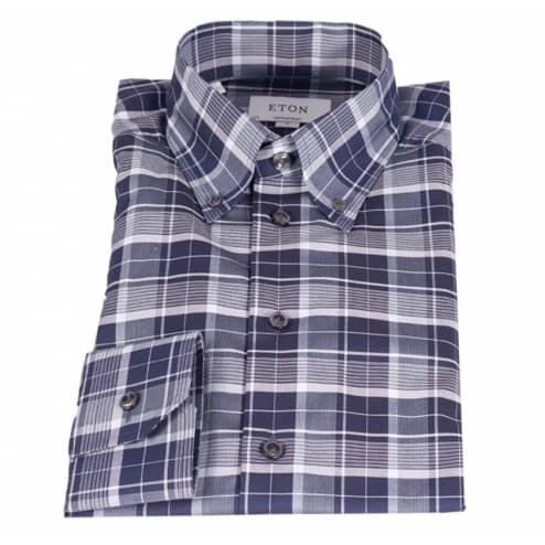 Eton Shirt, Contemporary Fit, Blue/Grey Check - Leonard Silver