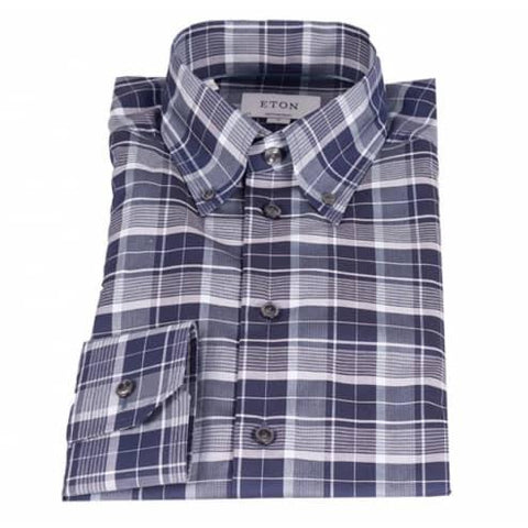 Eton Shirt, Contemporary Fit, Blue/Grey Check