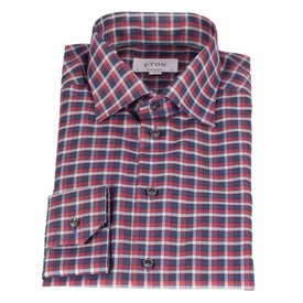 Eton Shirt, Contemporary Fit, Red/Blue Check - Leonard Silver