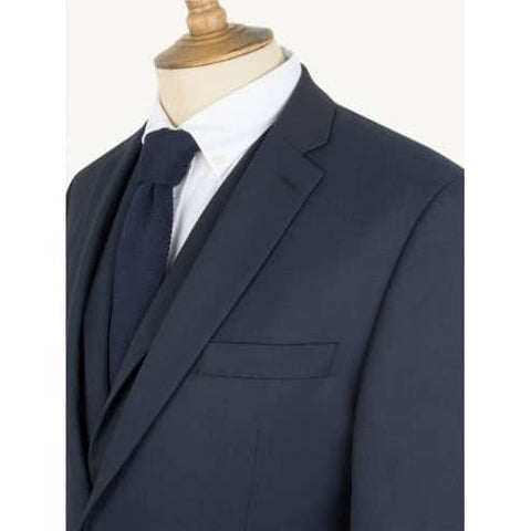 Regular Fit 3 Piece Navy Suit - Leonard Silver