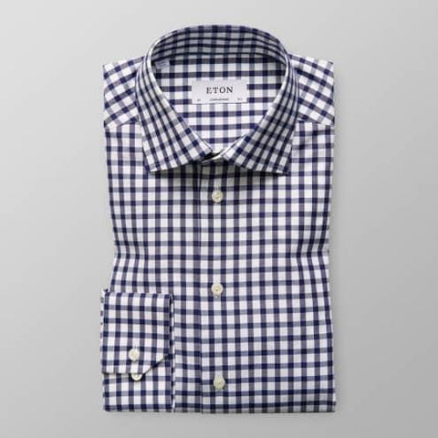 Eton Shirt, Contemporary Fit, Navy Gingham Check