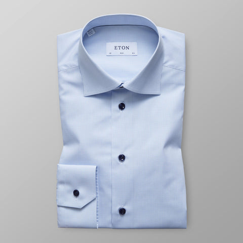 Eton Blue Micro Check Shirt Slim Fit