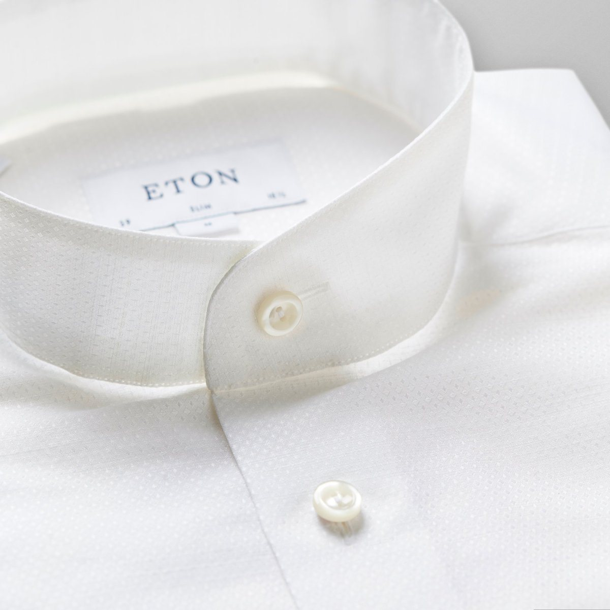 Banded Collar Shirt-White