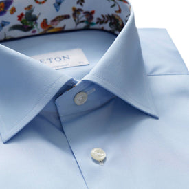 Poplin Business Shirt Sky - Leonard Silver