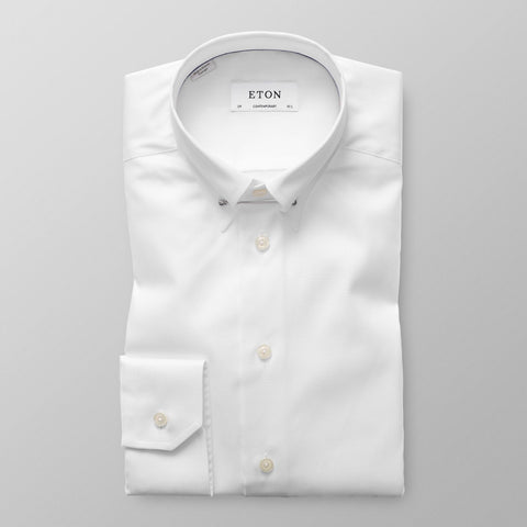 Eton White Pointed Pin Collar Shirt - Leonard Silver