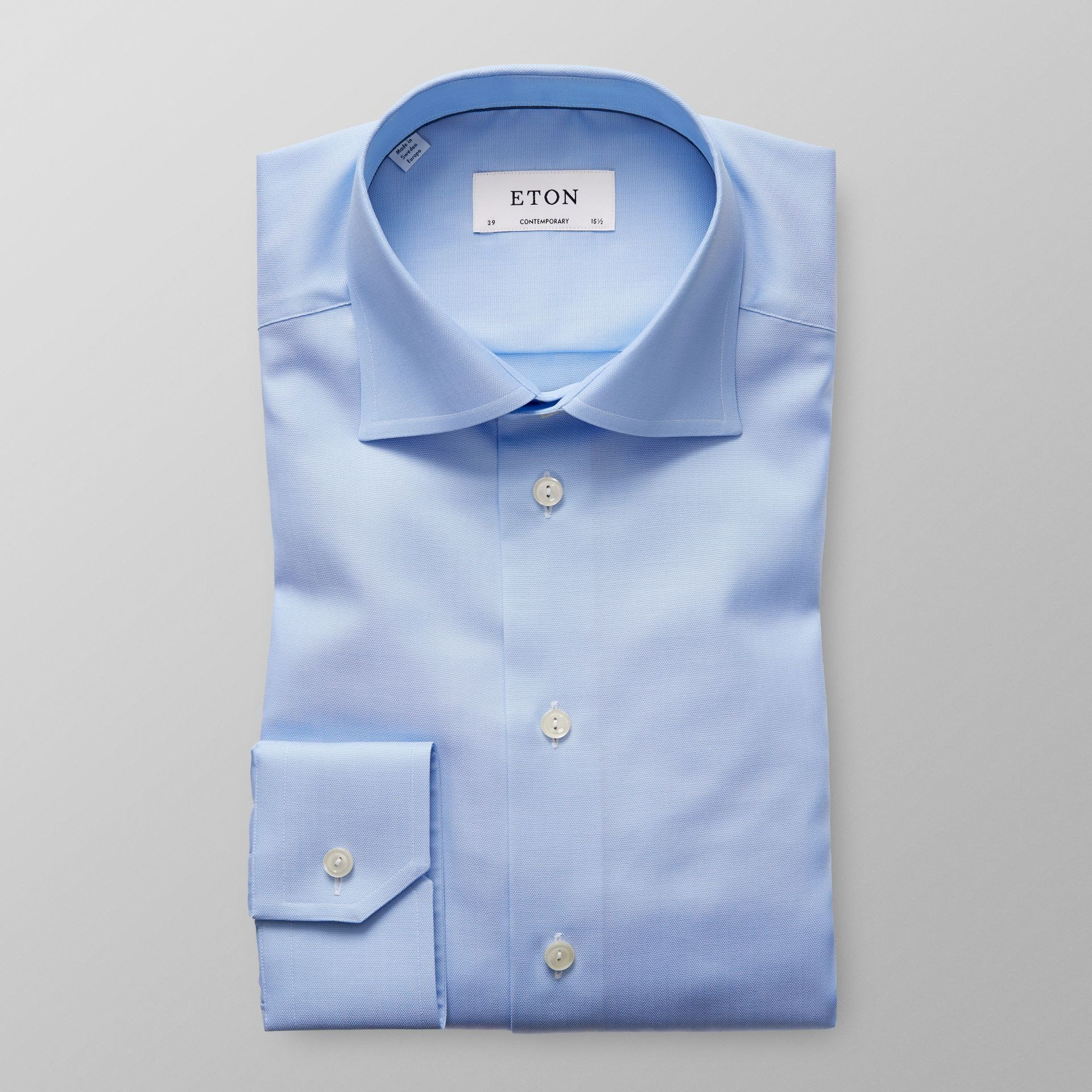 Eton Sky Blue Herringbone Twill Shirt