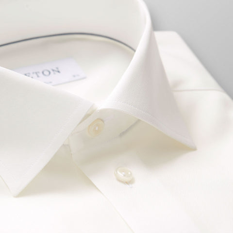 Eton Cream Herringbone Slim Fit Shirt - Leonard Silver