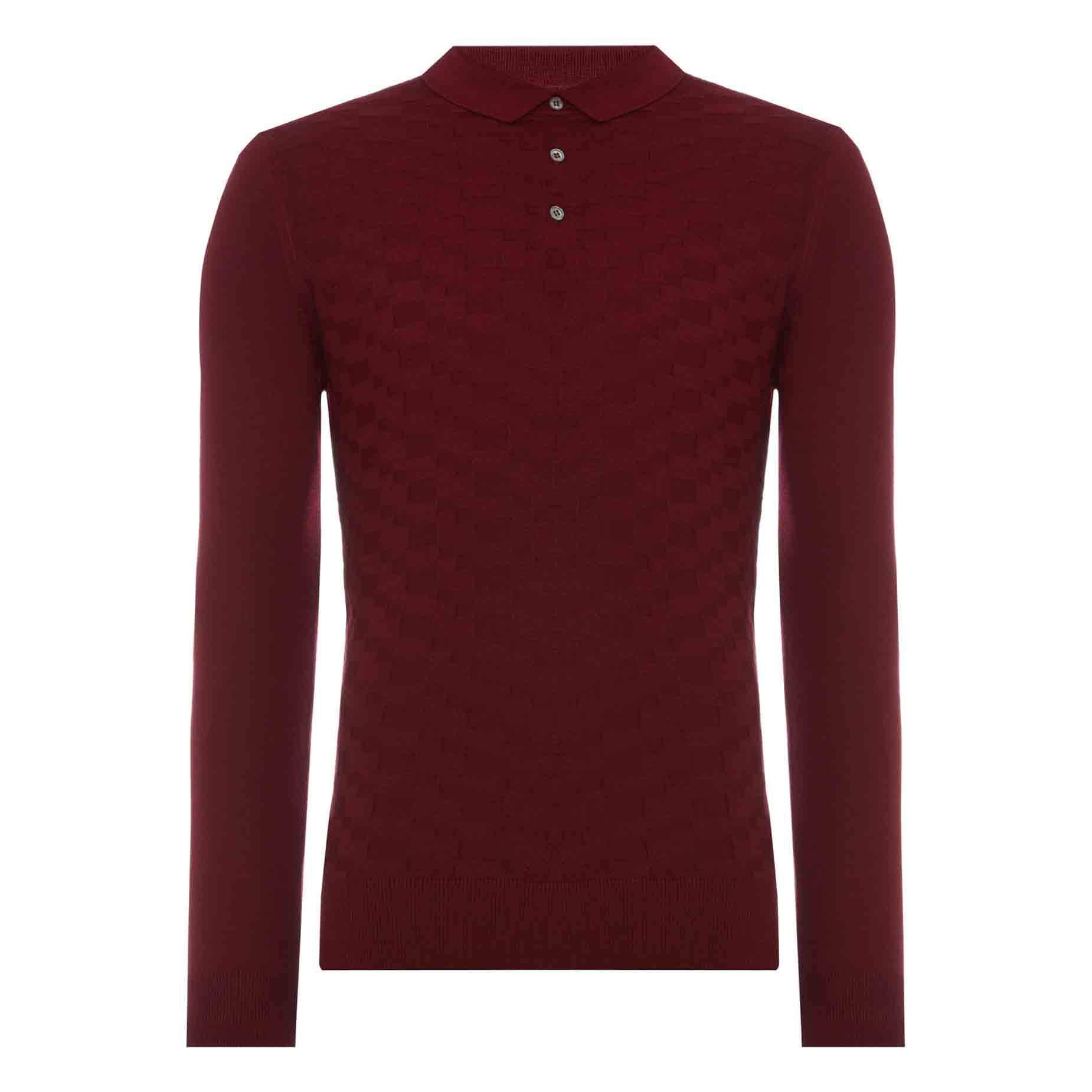 Long Sleeve Knitted Polo - Leonard Silver