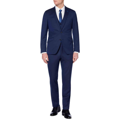 Tapered Fit Wool-Rich Suit Navy - Leonard Silver