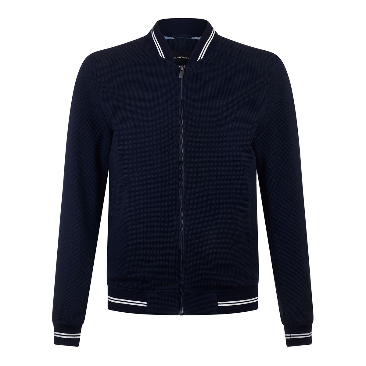 Navy Textured Bomber Jacket