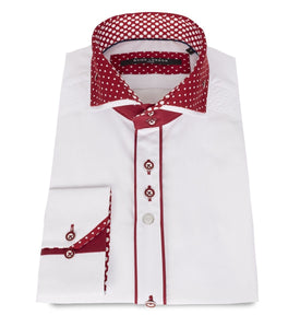 GUIDE WHITE/BURGUNDY Shirt with polka dot print collar - Leonard Silver