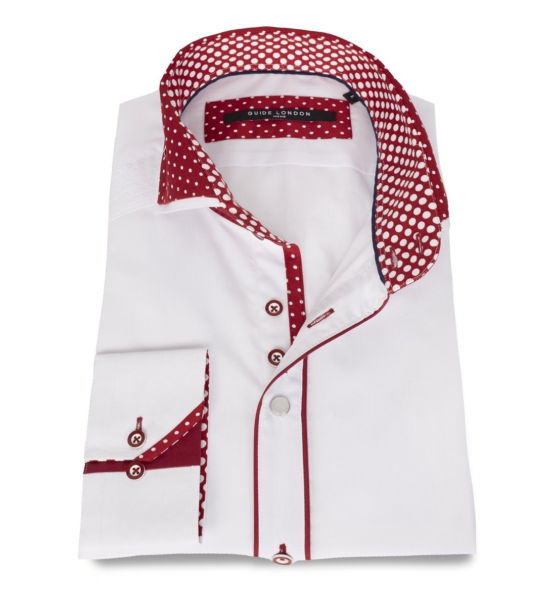 GUIDE WHITE/BURGUNDY Shirt with polka dot print collar