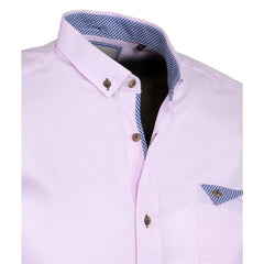 PINK Short Sleeve Oxford Shirt - Leonard Silver
