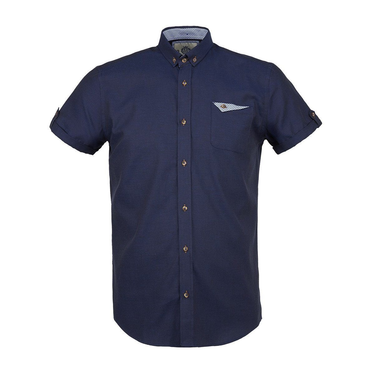 NAVY Short Sleeve Oxford Shirt - Leonard Silver