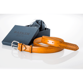 Brogue Cedar Calf Belt - Leonard Silver