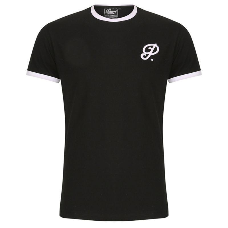 Pawn Atlanta Curved Hem Ringer T Shirt Black