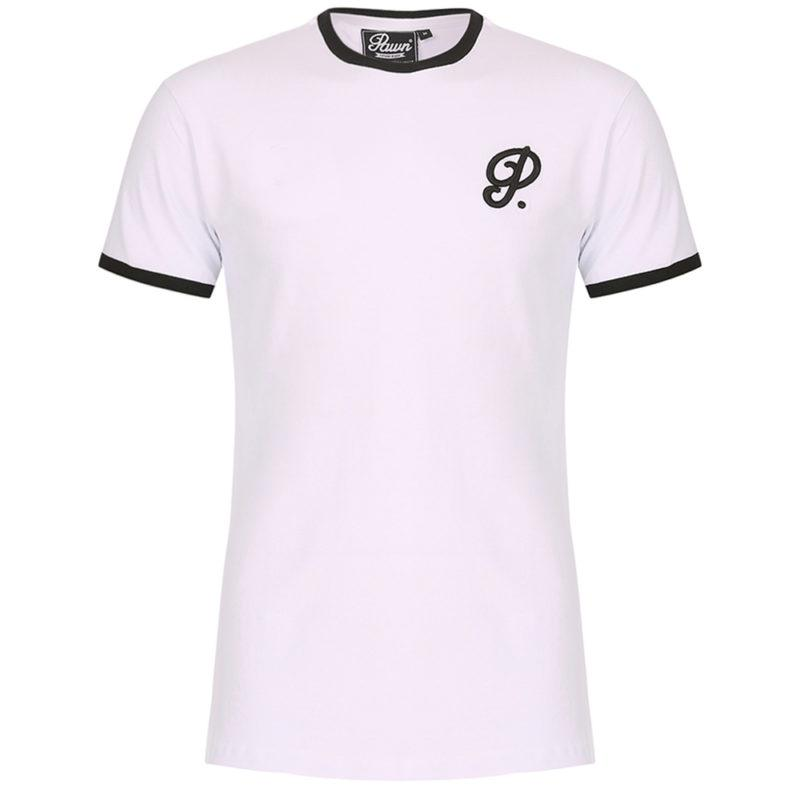 Pawn Atlanta Curved Hem Ringer T Shirt White
