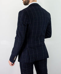Big Check Navy Tweed Suit