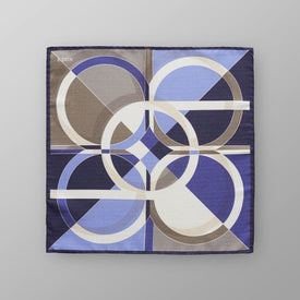 Blue Geometric Print Pocket Square - Leonard Silver