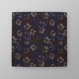 Blue & Red Floral Print Pocket Square - Leonard Silver