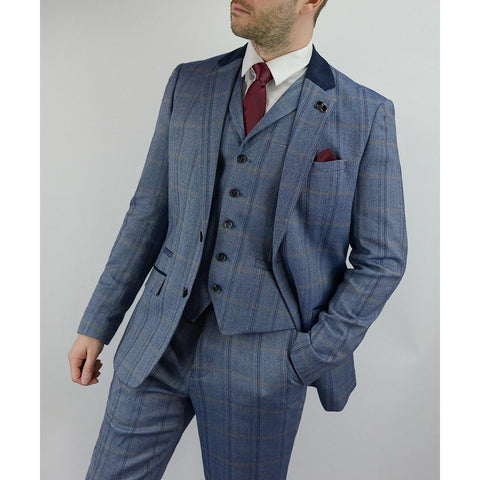 Herringbone Check Suit Blue - Leonard Silver