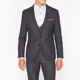 Charcoal Mini Check Suit - Leonard Silver