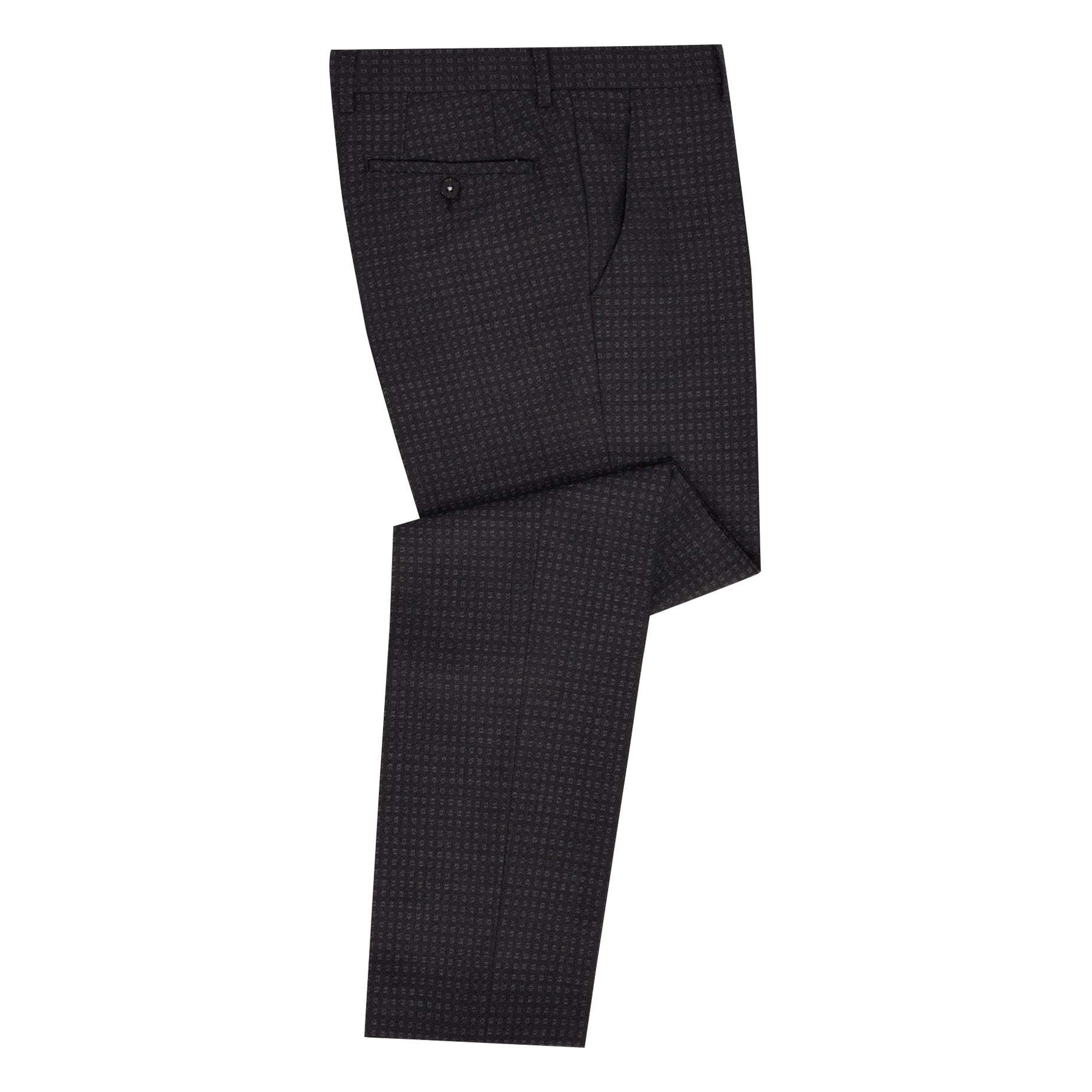 Charcoal Mini Check Trousers - Leonard Silver