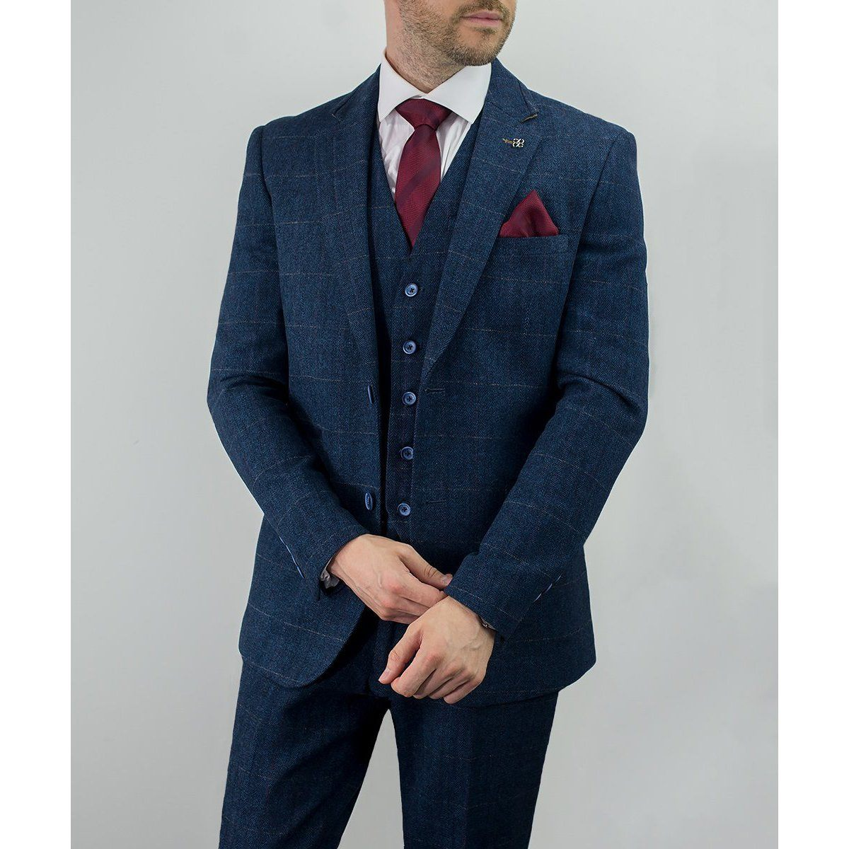 Navy Tweed Check Jacket - Leonard Silver