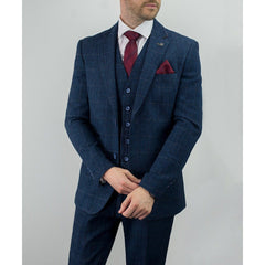 Navy Tweed Check Jacket