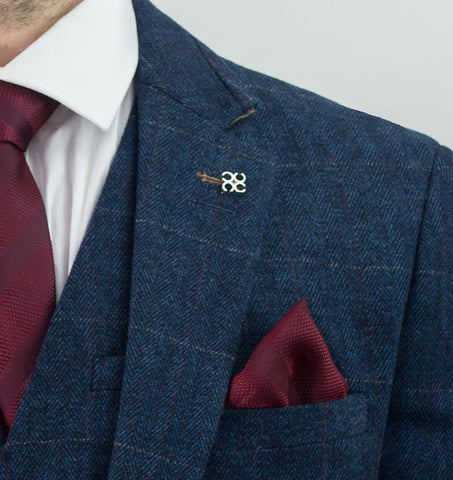 Navy Tweed Check Suit - Leonard Silver