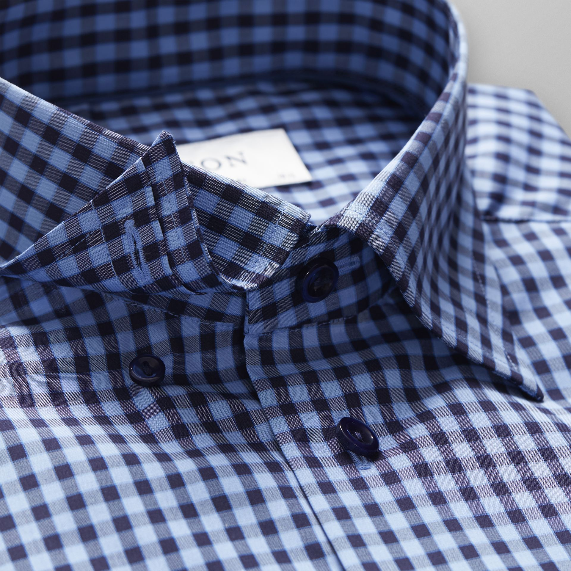 Navy Check Button Under Shirt - Leonard Silver