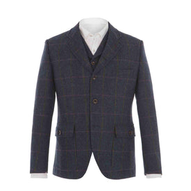 Herringbone Tweed 3 Button Jacket - Leonard Silver