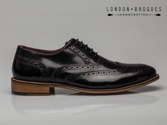London Brogues Gatsby Leather Brogue Black Hi Shine