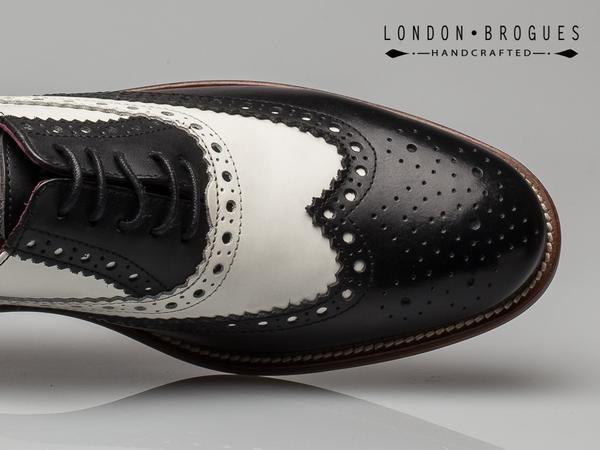 London Brogues Gatsby Leather Brogue Black/White