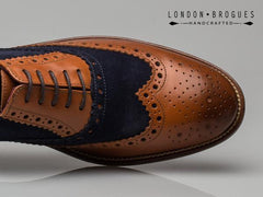 London Brogues Gatsby Leather Brogue Tan/Navy