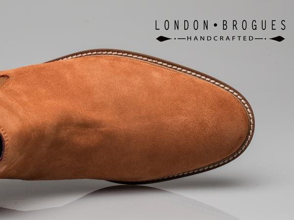 London Brogues Hamilton Suede Chelsea Boot Leather Tan