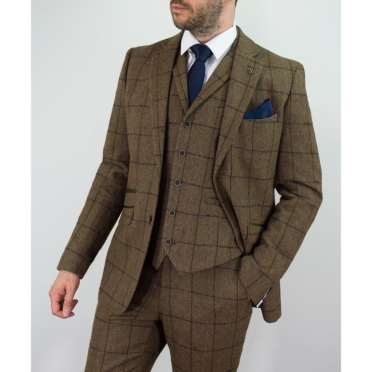 Tan Tweed Check Suit - Leonard Silver