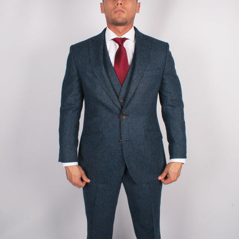Pure Wool Herringbone Tweed Suit - Leonard Silver