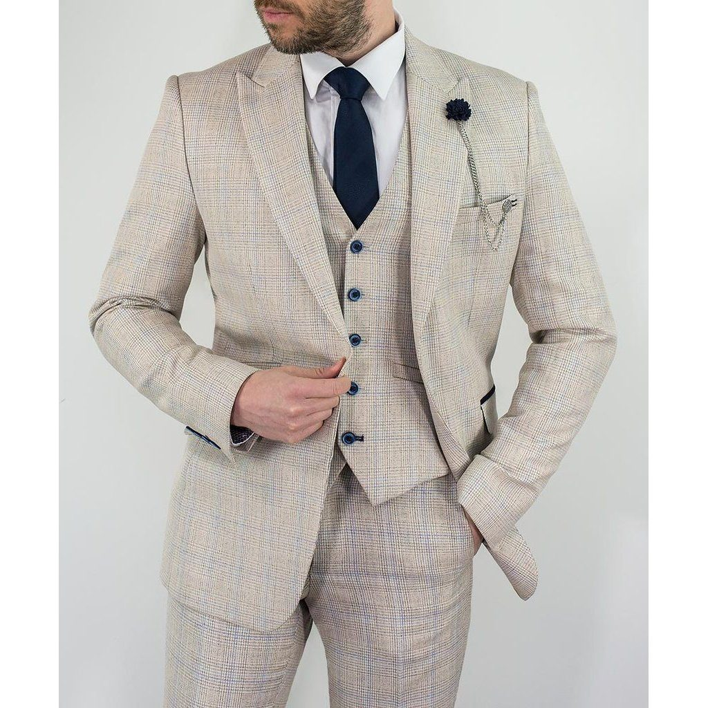 Ivory Check Suit - Leonard Silver