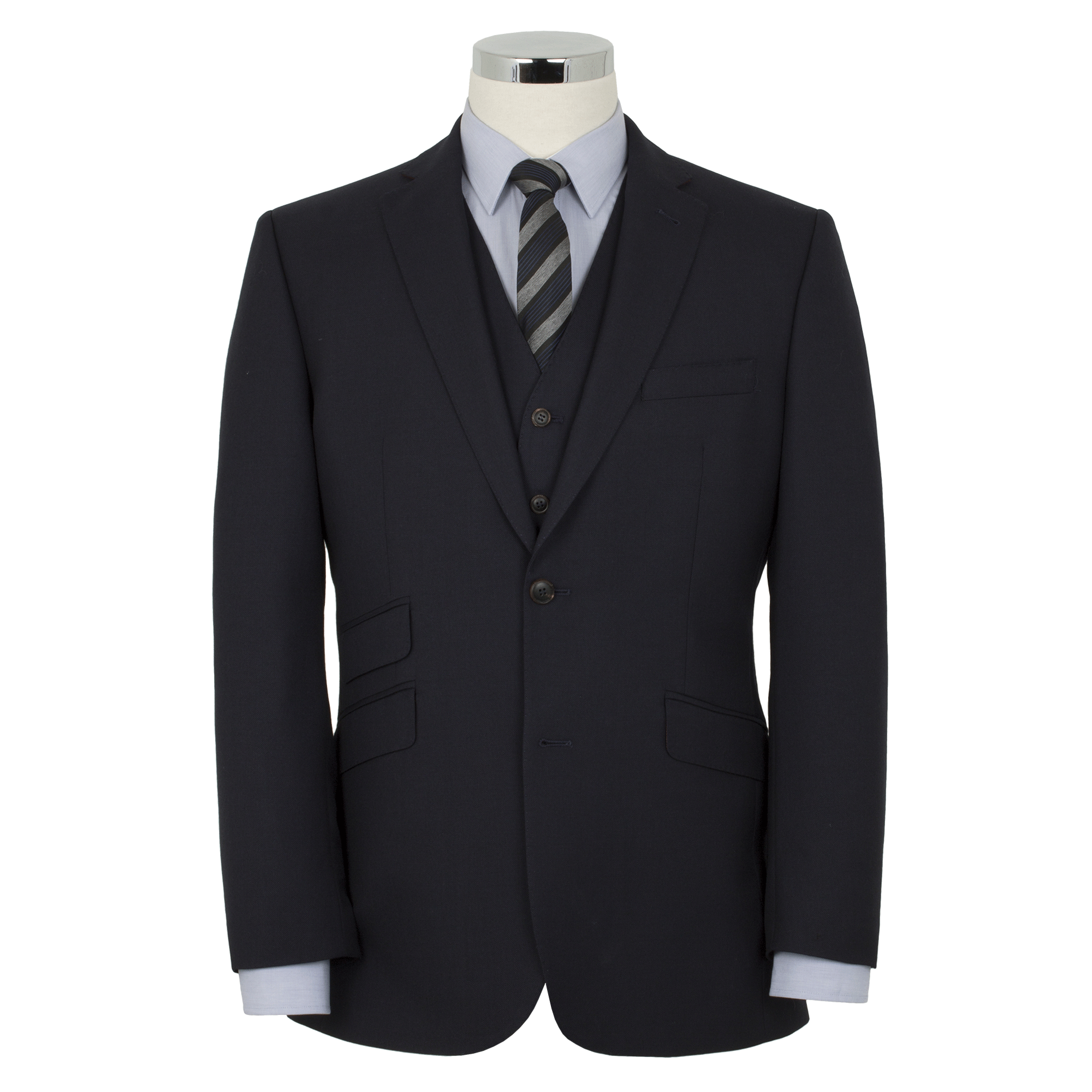 Alfred Brown Navy Wool Suit - Leonard Silver