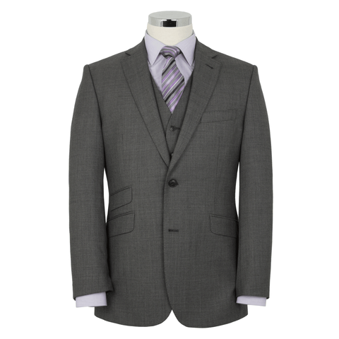 Alfred Brown Charcoal Grey Wool Suit - Leonard Silver