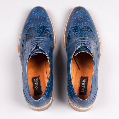 Lacuzzo Blue Snake Skin effect Leather Oxford Brogue - Leonard Silver