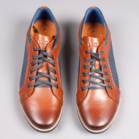 Lacuzzo Tan/Navy leather Sneaker